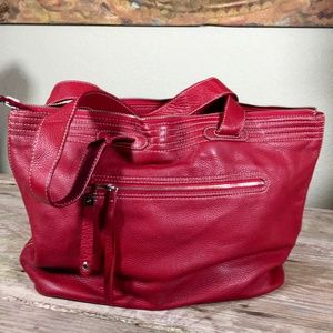 Cole Haan shopper reversible red leather fabric